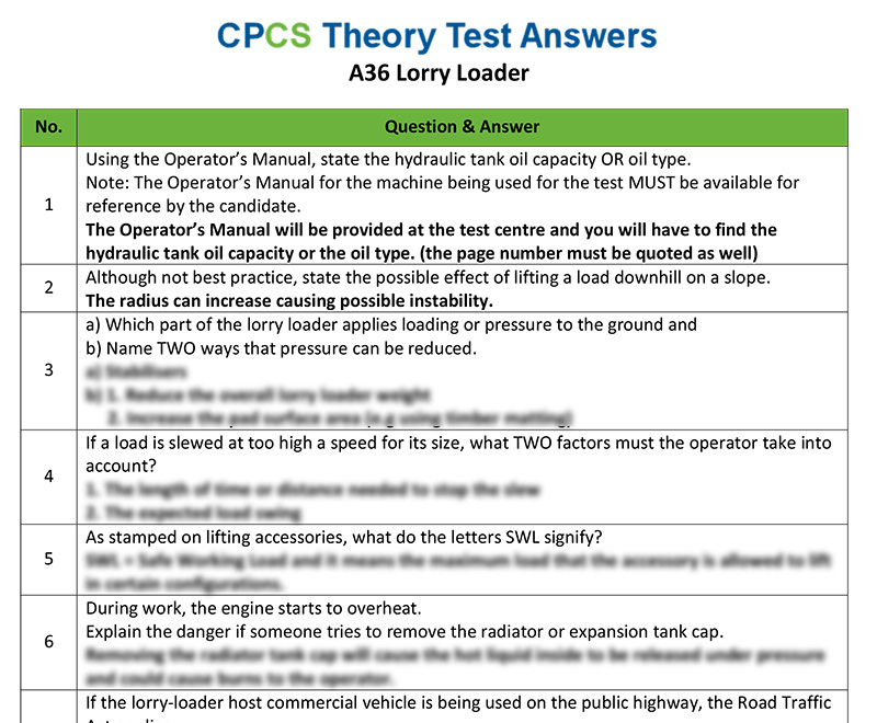 Cpcs a36 lorry loader theory test answers cpcs category a36 lorry loader fandeluxe Images