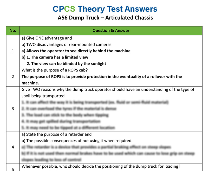 Cpcs A56 Dump Truck Articulated Chassis Theory Test Answers