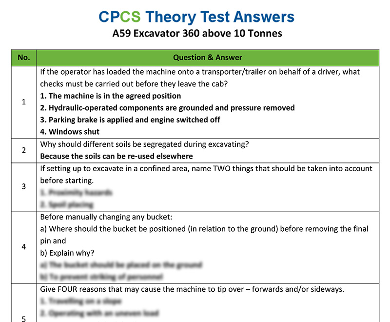 CPCS A59 Excavator 360 above 10 tonnes Theory Test Answers