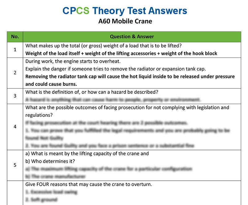 Cpcs a60 mobile crane theory test answers cpcs category a60 mobile crane fandeluxe Images